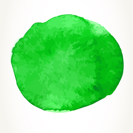 Hand drawn green watercolor circle, isolated over white.