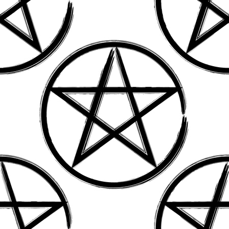 Pentagram in a circle seamless pattern, brush drawing magic occult star symbol. Vector background illustration in black over white.