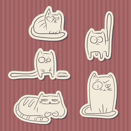 Paper cut hand drawn sketches of funny cats over red vintage stripes background. Standard-Bild - 125130832