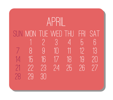 April year 2019 plain contemporary vector monthly calendar. Week starting from Sunday. Red rectangle over white background. Illustration