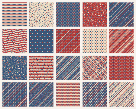 Set of American patriotic stars and stripes seamless patterns in vintage colors. Independence Day vector backgrounds.