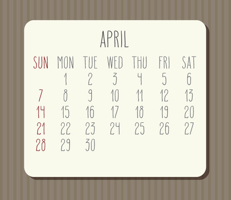 April year 2019 vector monthly calendar. Week starting from Sunday. Vintage brown stripes design.