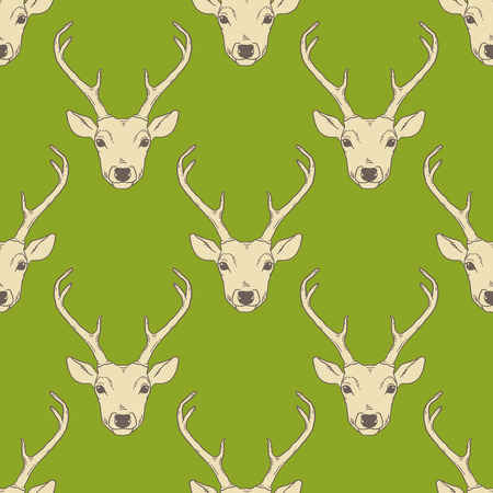 Seamless vintage pattern with deer heads. Vector hipster trendy background. Nature wildlife animal green backdrop.