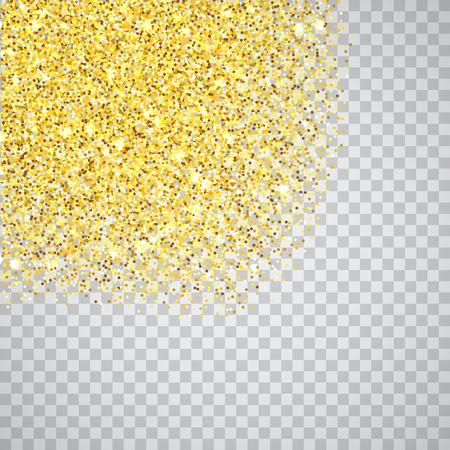 Borde de textura de esquinas de brillo dorado sobre fondo transparente. Destellos dorados abstractos de confeti. Ilustración de fondo cuadrado de vector.