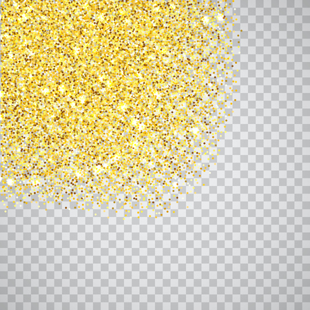 Gold glitter corners texture border over transparent checker background. Abstract golden sparkles of confetti. Vector square backdrop illustration.