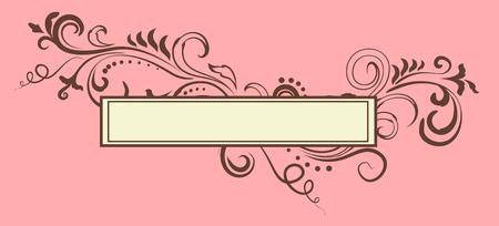 Doodle floral ornamental blank frame isolated over muted pink. Vector background illustration. Elegant victorian border.