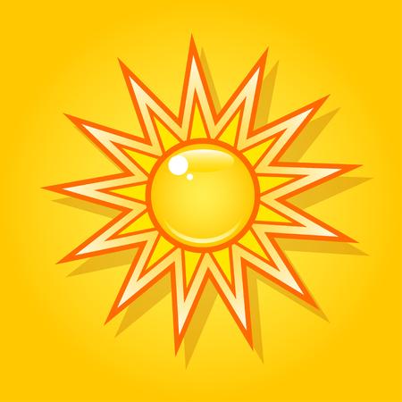 Summer bright shining sun on the yellow sky.
