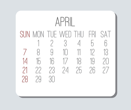 April year 2019 vector monthly calendar. Week starting from Sunday. Plain light grey and white contemporary design.