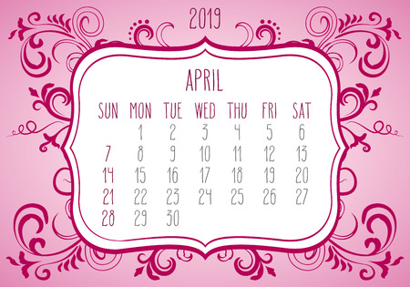 April year 2019 plain contemporary vector monthly calendar. Week starting from Sunday. Ornate elegant frame design over bright pink background.