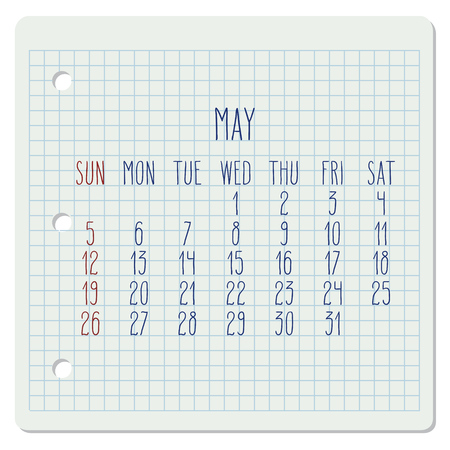 May year 2019 vector monthly calendar on a chequered notebook page. Week starting from Sunday. Hand written typography.