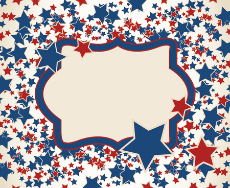 American patriotic background. United States blank frame with space for text. Independence day design template. Scattered small stars horizontal backdrop. Stock Illustratie