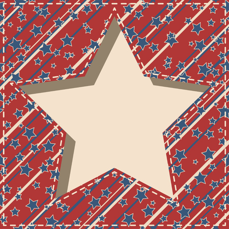 American patriotic paper cut dashed frame with stars and stripes pattern in vintage colors.
