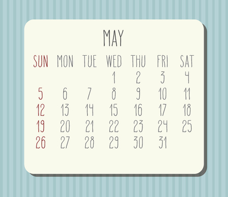 May year 2019 vector monthly calendar. Week starting from Sunday. Light blue stripes desight.