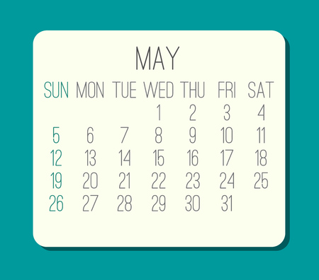 May year 2019 plain contemporary vector monthly calendar. Week starting from Sunday. Beige rounded rectangle over bright turquoise green background.
