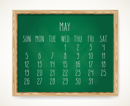Hand written chalk vector calendar for May year 2019 over green chalkboard background in a wooden frame.