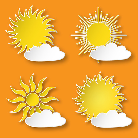 Set of vector yellow paper bright shining suns icons, isolated over orange sky. Ilustração