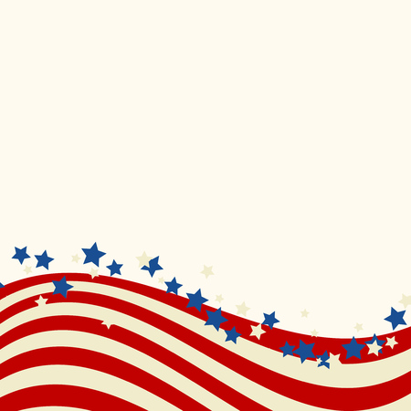 American flag patriotic background. United States blank frame with space for text. Independence day design template. Stars and stripes backdrop.