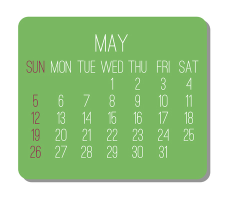 May year 2019 plain contemporary vector monthly calendar. Week starting from Sunday. Green rectangle over white background.