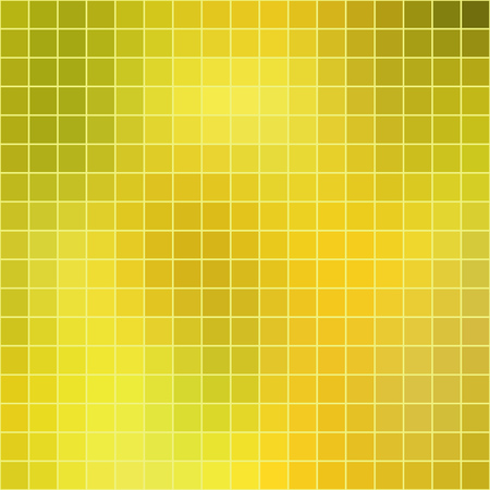 Vector abstract mosaic yellow tile background, square format.