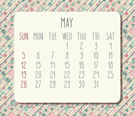 May year 2019 vector monthly calendar. Week starting from Sunday. Funky dots and stripes background.
