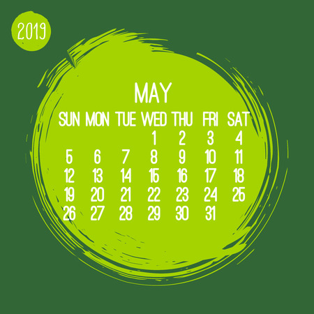 May year 2019 contemporary vector monthly calendar. Week starting from Sunday. Hand drawn green brush stroke circle design.