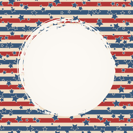 American flag patriotic background. United States blank round frame with space for text. Independence day design template. Stars and stripes backdrop.  イラスト・ベクター素材