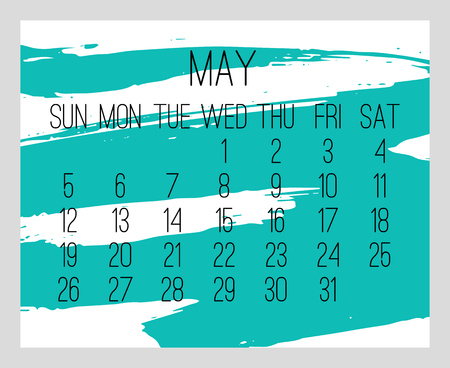May year 2019 vector monthly modern calendar. Week starting from Sunday. Contemporary hand drawn brush stroke frame design in teal blue and white. Ilustrace