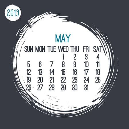 May year 2019 contemporary vector monthly calendar. Week starting from Sunday. Hand drawn brush stroke circle white design over dark gray background.