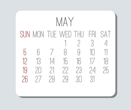 May year 2019 vector monthly calendar. Week starting from Sunday. Plain light grey and white contemporary design.