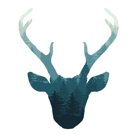 Hand drawn tribal style deer head with forest double exposure. Magic vector illustration isolated over white. Spiritual art, yoga, boho style, nature and wilderness.