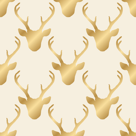 Seamless pattern with golden shiny deer heads silhouettes over beige. Vector hipster trendy background. Nature wildlife animal backdrop.