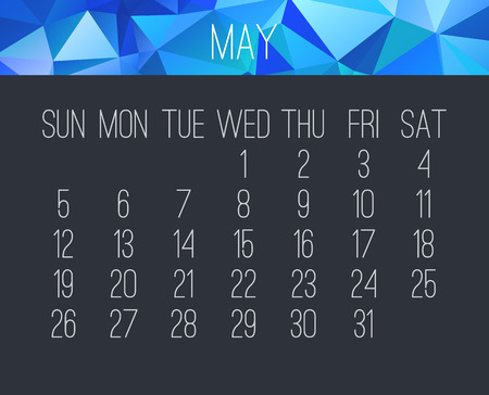 May year 2019 vector monthly calendar. Week starting from Sunday. Contemporary blue low poly design over dark gray background.