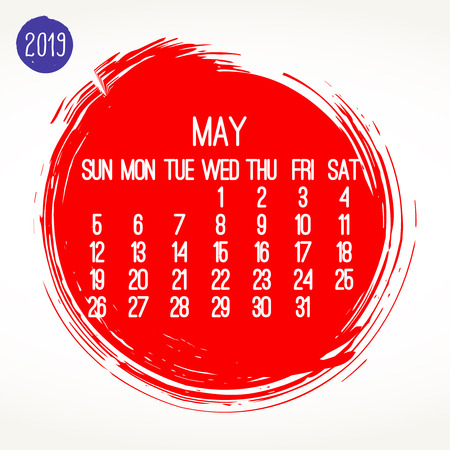 May year 2019 contemporary vector monthly calendar. Week starting from Sunday. Hand drawn brush stroke circle design over white background.