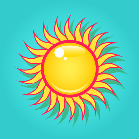 Summer bright shining sun on the turquoise blue sky. Ilustração