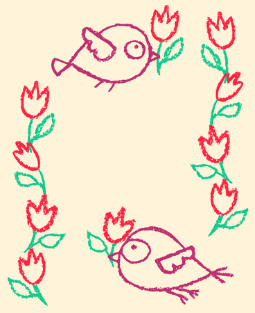 Cute little hand drawn birds and flowers garlands frame. Cartoon vector background nature border illustration.