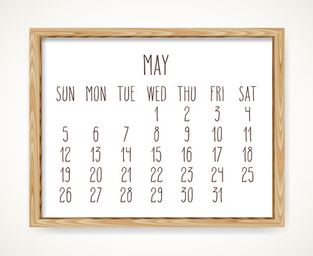 May 2019 vector monthly calendar. Week starting from Sunday. Hand drawn text in a wooden frame isolated over white background. Ilustrace