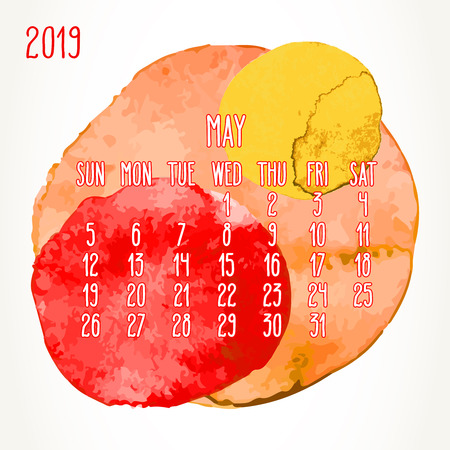 May year 2019 vector monthly calendar. Week starting from Sunday. Hand drawn multicolor watercolor paint circles artsy design over white background.