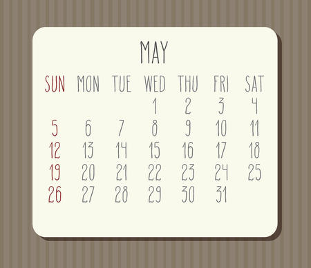 May year 2019 vector monthly calendar. Week starting from Sunday. Vintage brown stripes design.