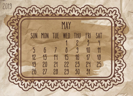 May year 2019 plain contemporary vector monthly calendar. Week starting from Sunday. Ornate frame design over vintage brown crupled paper  background.