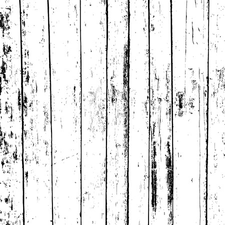 Grunge wood overlay texture. Vector illustration background in black over white, square format. Stock Illustratie