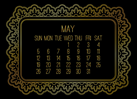 May year 2019 vector monthly calendar. Week starting from Sunday. Victorian ornate golden frame design over black background.