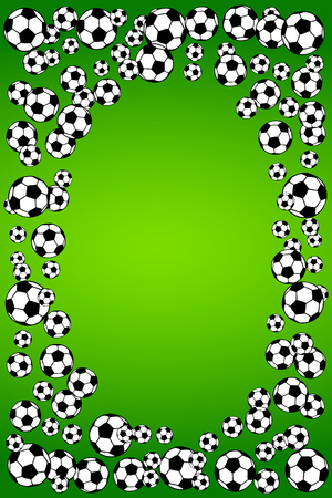 Soccer, football scattered balls blank frame. Background vector illustration over bright green grass field. Sport game equipment wallpaper. Vertical format. Ilustração