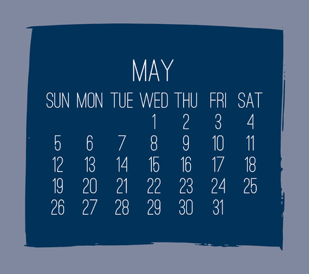 May year 2019 contemporary vector monthly calendar. Week starting from Sunday. Hand drawn square brush stroke dark blue design over grey background.