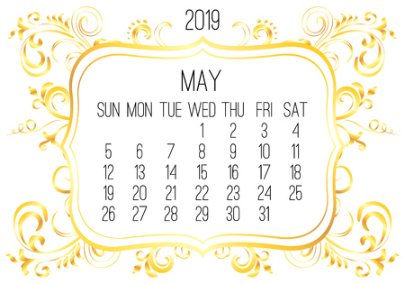 May year 2019 vector monthly calendar. Week starting from Sunday. Victorian ornate golden frame design over white background. Ilustrace