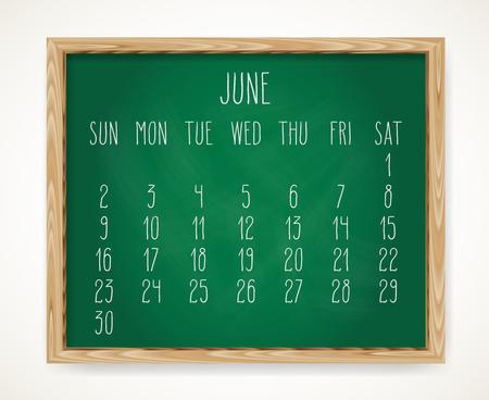 Hand written chalk vector calendar for June year 2019 over green chalkboard background in a wooden frame. Illustration
