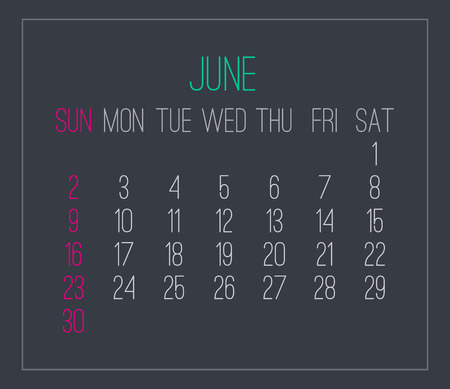 June year 2019 plain contemporary vector monthly calendar. Week starting from Sunday. Modern design over dark gray background.