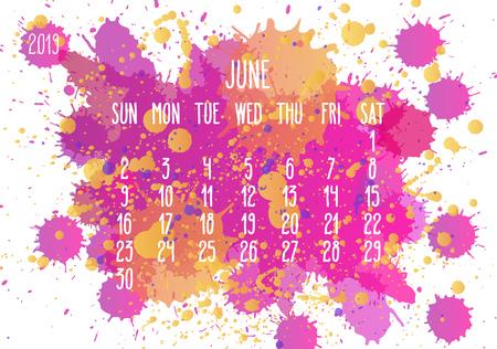 Calendario mensual del vector de junio del año 2019. Semana a partir del domingo. Dibujado a mano diseño artístico de salpicaduras de pintura rosa y amarilla sobre fondo blanco.