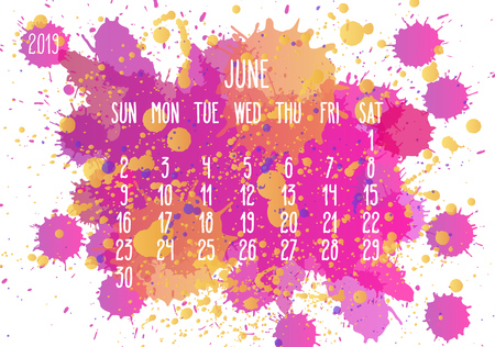 June year 2019 vector monthly calendar. Week starting from Sunday. Hand drawn pink and yellow paint splatter artsy design over white background.