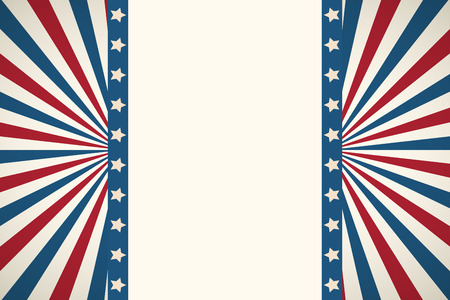American flag patriotic background. United States blank frame with space for text. Independence day design template. Stars and stripes backdrop.  Illusztráció