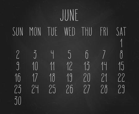 Hand written chalk vector calendar for June year 2019 over black chalkboard background.